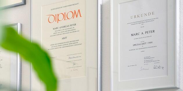 Diplom Zertifikat von Dr. Marc A. Peter