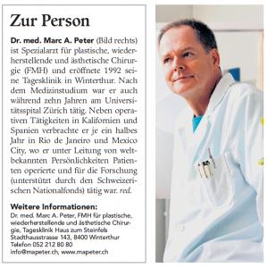 Dr. Marc A. Peter im Winterthurer Stadtanzeiger